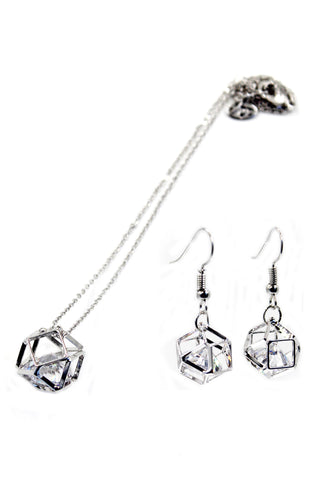 fashion small crystal pendant hexagram earrings