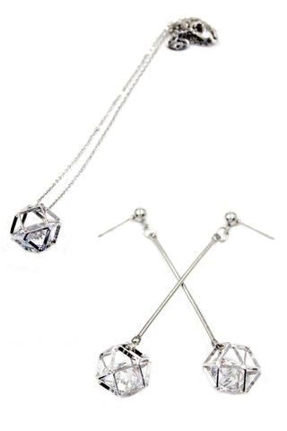 square crystal pendant earrings