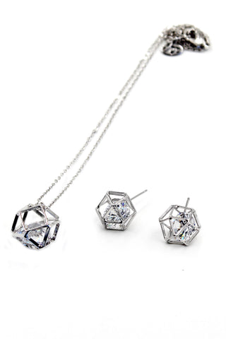 fashion elegant crystal earrings necklace set