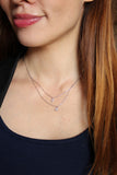 duplexes crystal mini cross heart necklace