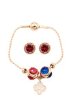 clover bracelets red crystal earrings set