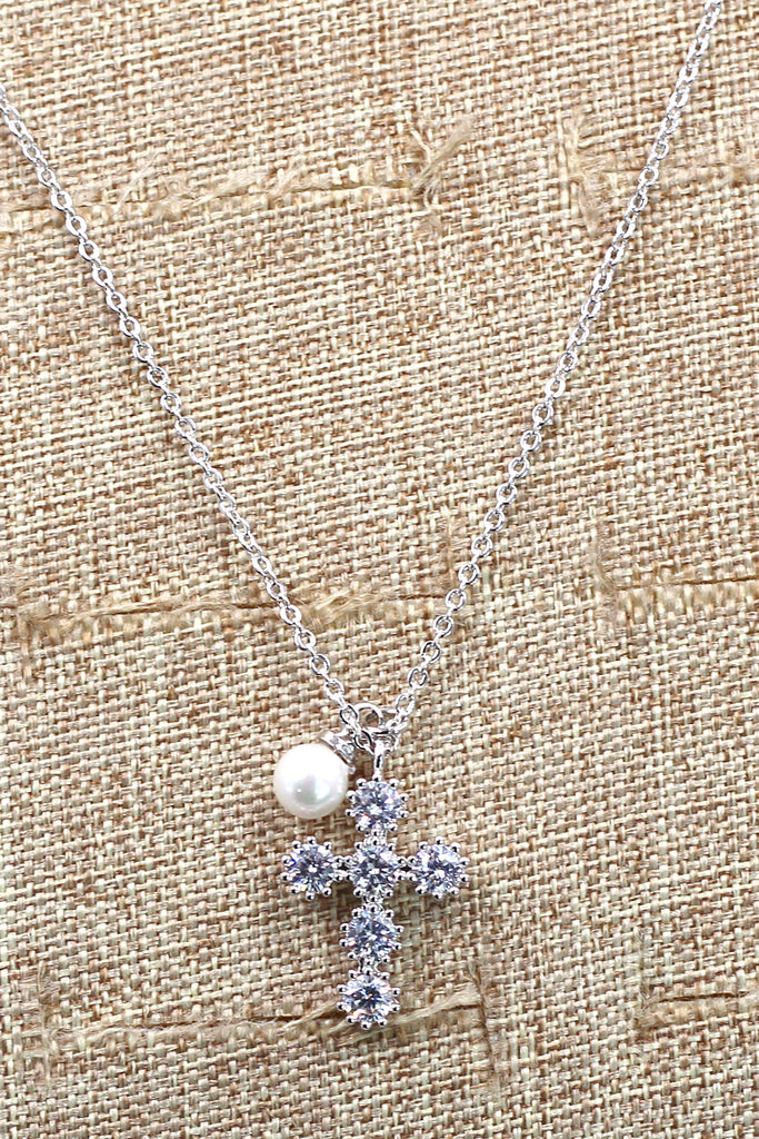 mini cross crystal and pearl rose gold necklace