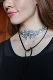 luxury crystal flower leather choker