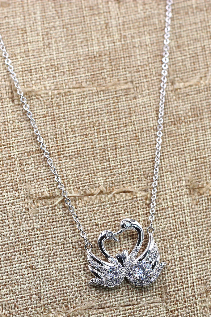 swan love crystal necklace
