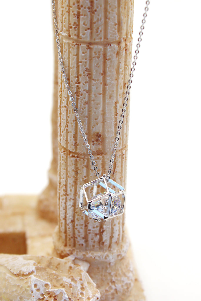 hollow small pendant crystal chain earring set