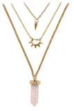 fashion crystal three levels gold necklace