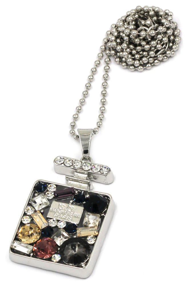 fashion crystal perfume bottle silver necklace