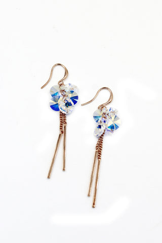 little noble crystal golden rim earrings