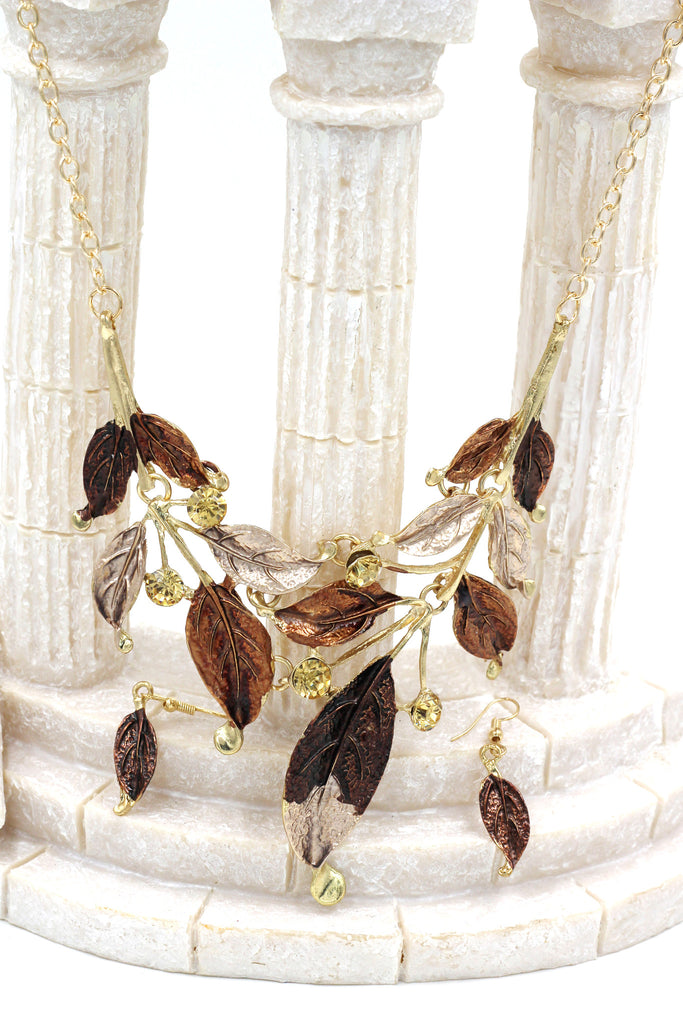 fashion leaves necklace earrings set