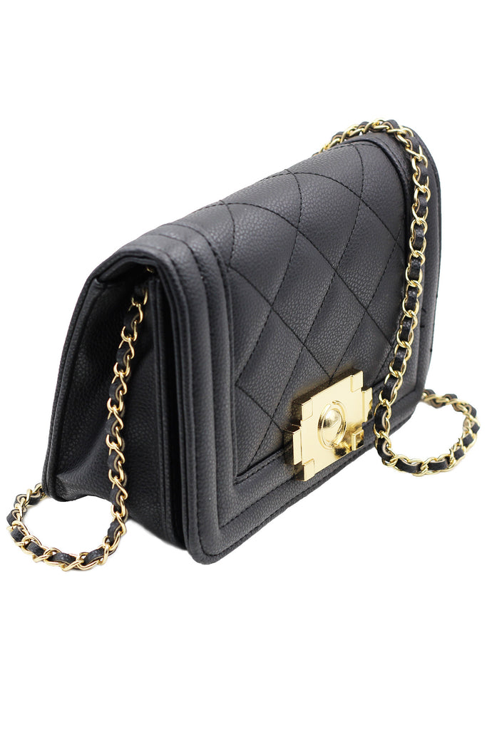 Quilted chain shoulder purse