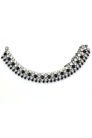 fashion double-chain singel square crystal choker