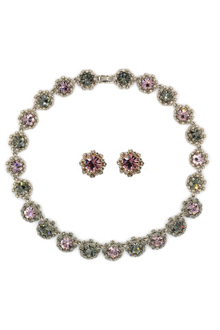 noble granular crystal flower necklace