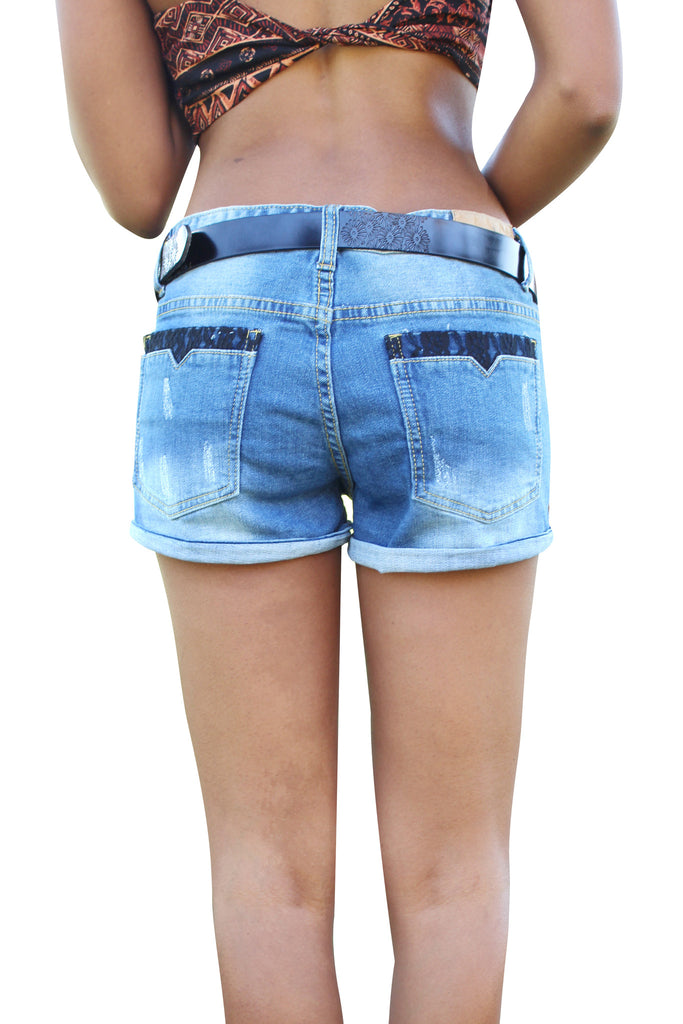 Fashion blue shorts denim