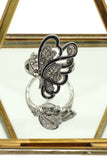 noble half crystal wing butterfly ring