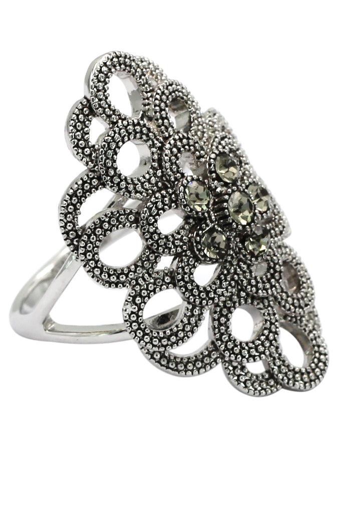 noble gray-green crystal silver ring
