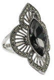 noble gray black crystal silver ring
