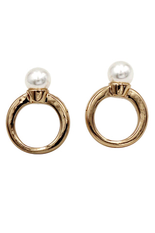 lovely circle crystal line silver earrings