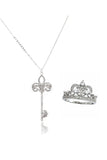 noble crown crystal ring necklace set