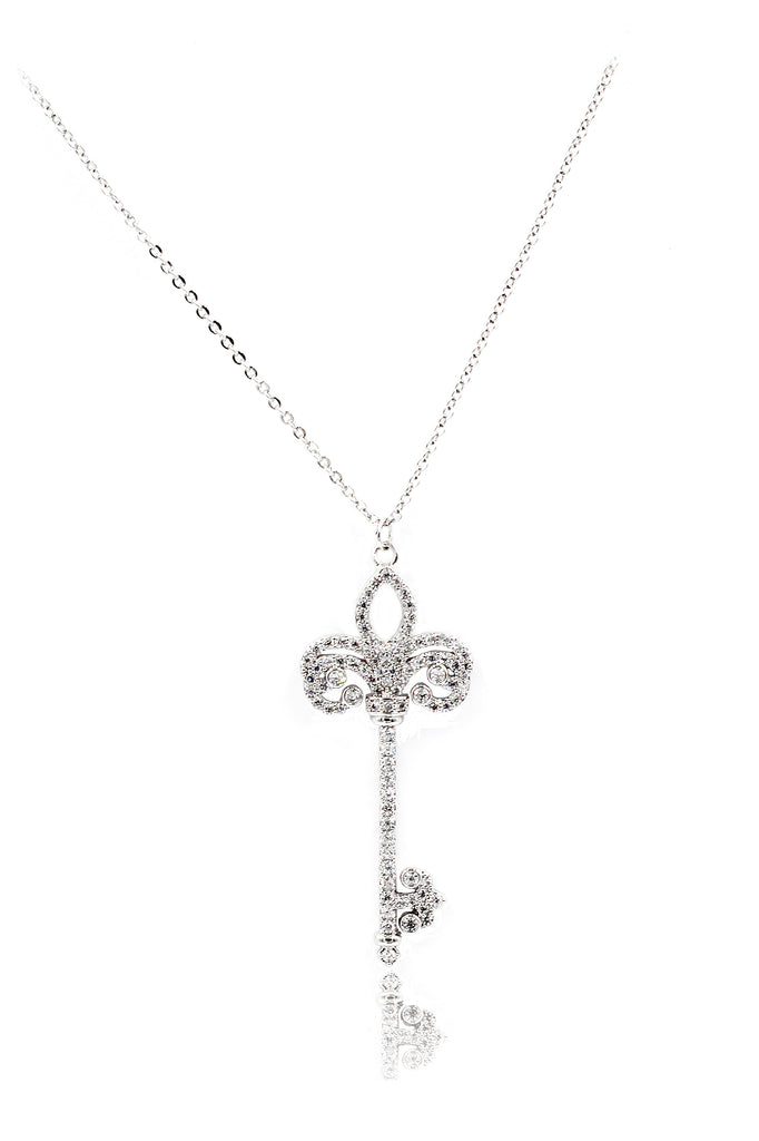 full crystal key necklace