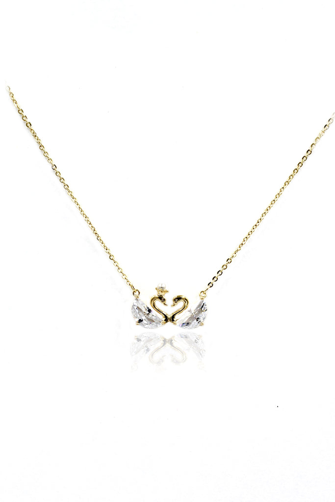 mini double swan crystal necklace