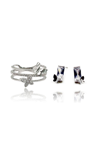 densely small crystal silver ring