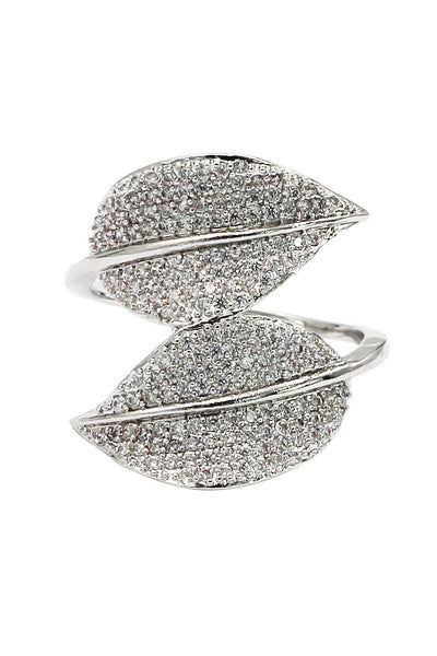 fashion micro-set crystal bilobals silver ring