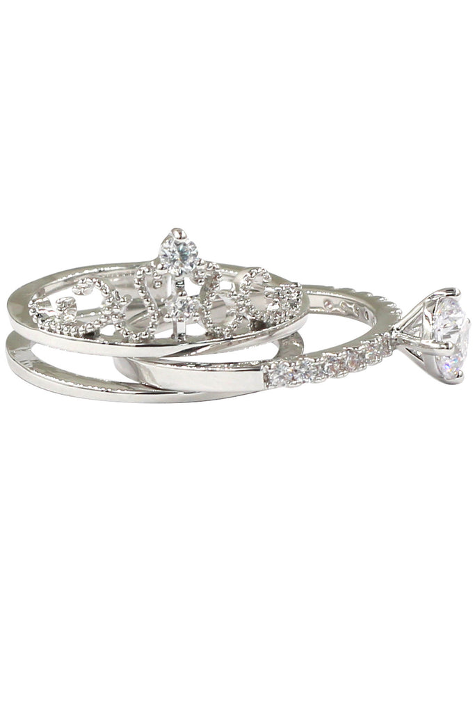 noble crystal crown silver ring