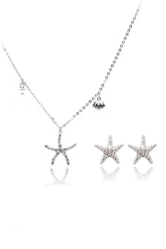 crystal starfish shell pearl necklace earrings set