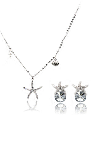 six-claw crystal ring earring set