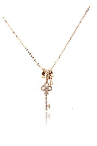 gold pink square crystal original necklace
