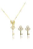 fashion crystal mini key earrings necklace set