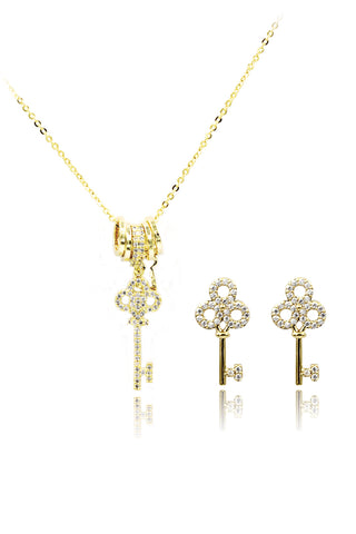 shining bright crystal golden necklace earrings set