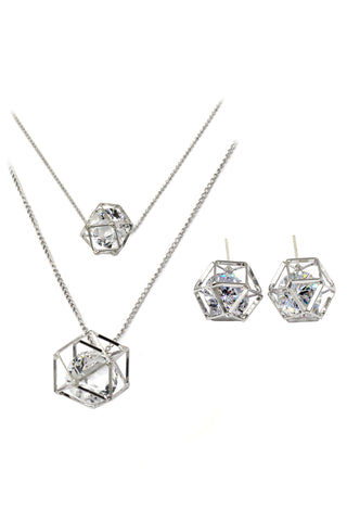 fashion double chain pendant crystal columns necklace