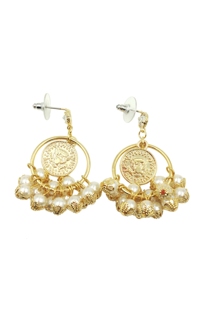 Pearl style gold earrings