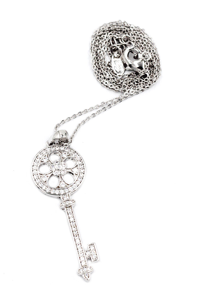 fashion shiny crystal key necklace