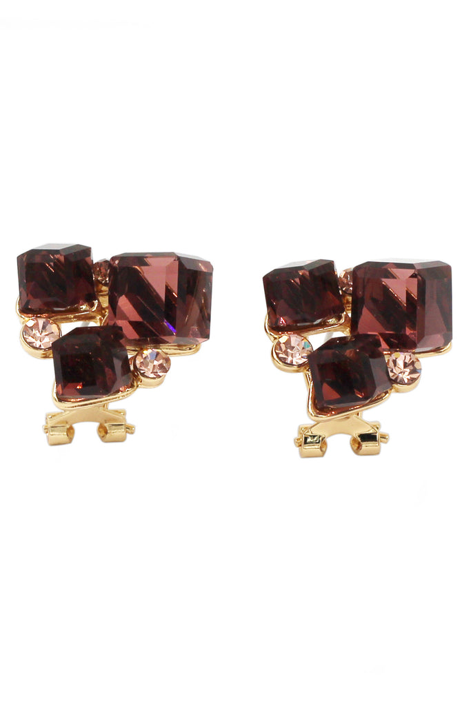 colorful square crystal golden earrings