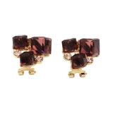 brown ring earrings crystal set