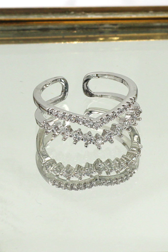 double V type crystal silver ring