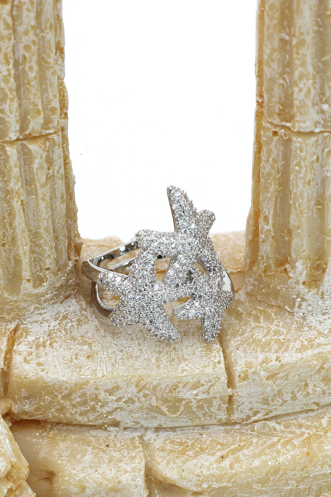 sparkling micro-set crystal starfish silver ring
