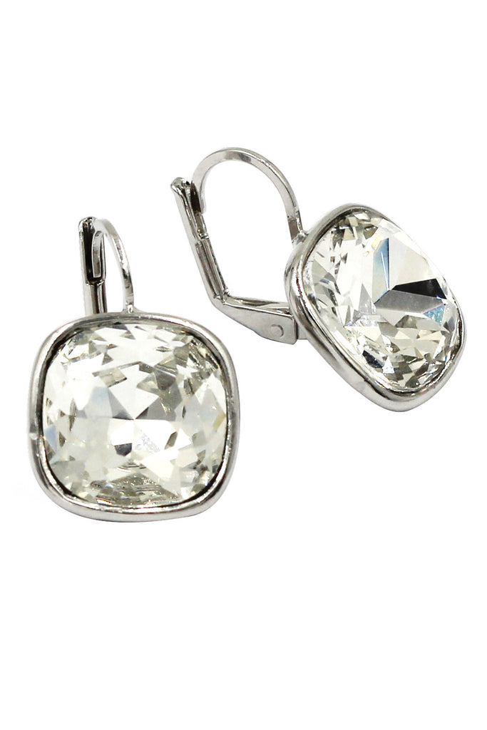 simple rounded square crystal earrings