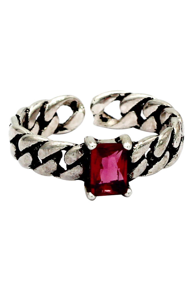 retro creative red crystal twisted silver ring
