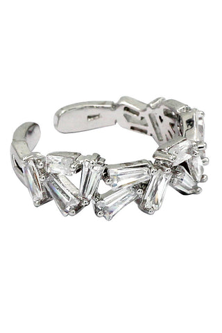 single row inlaid small crystal silver ring