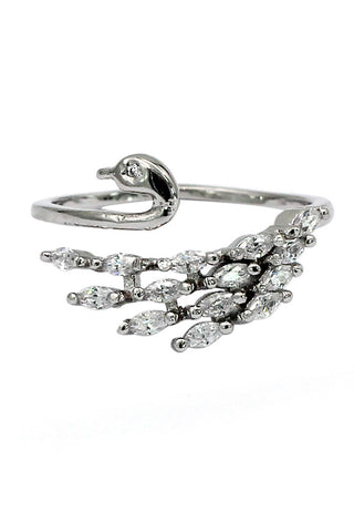 lady simple crystal silver ring