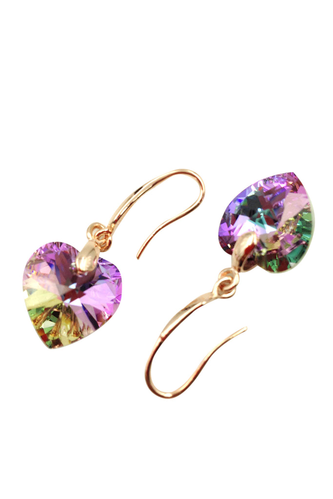 Purple love shape crystal earring