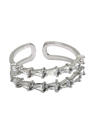 fashion five claws crystal silver ring