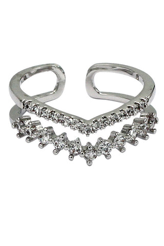 fashion crystal air silver ring