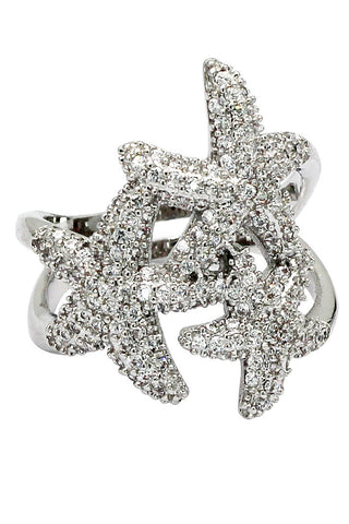 fashion sparkling crystal silver ring