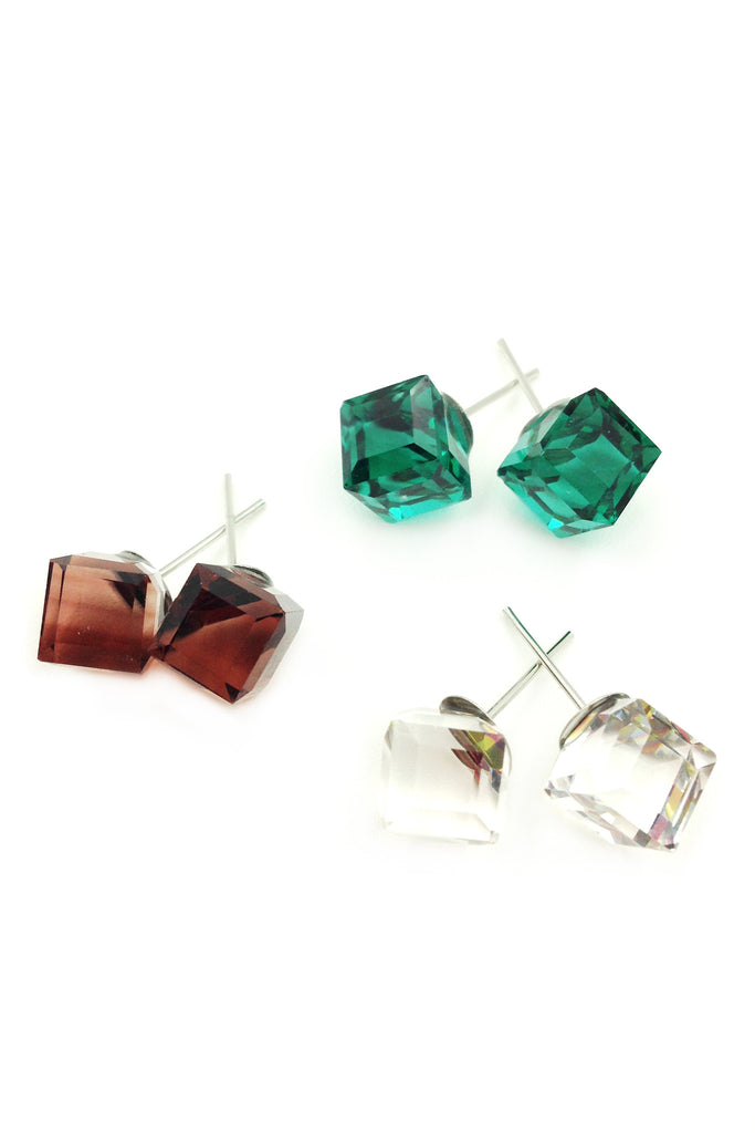 Colorful square crystal earrings