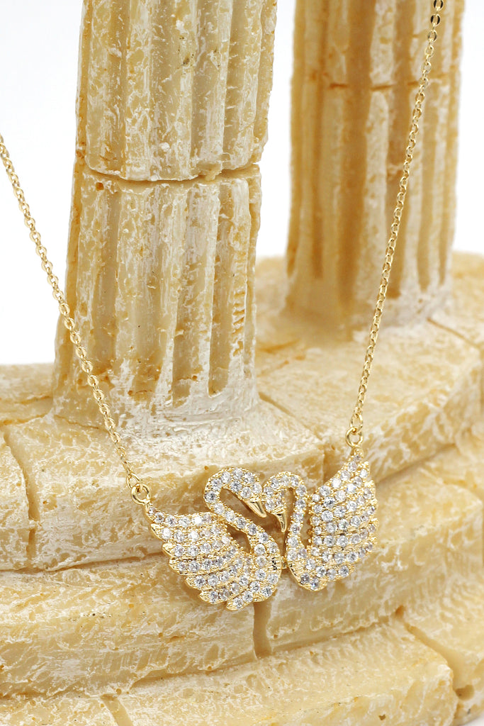 sweet swan love crystal necklace