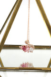 beautiful pink crystal swan necklace